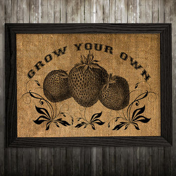 Berry print Strawberry poster Burlap print Kitchen art BLP428