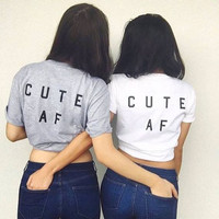Women T shirt Cute AF Best Friend Letter Print Cotton Casual Funny Shirt For Lady White Gray Top Tee Hipster T-55