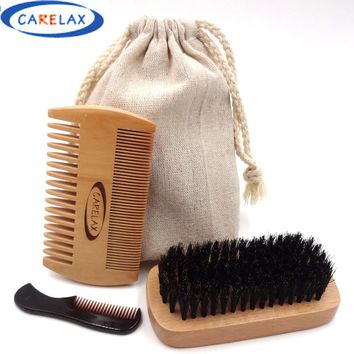 4pcs Wooden Beard Brush Boar Hair Bamboo With Boar Bristle Natural Wooden Comb Beard Care of the Shaving Brush Set