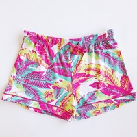 Maui Palm Sleep Shorts - Pink