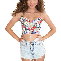 Hey There Miss Floral Bustier - White
