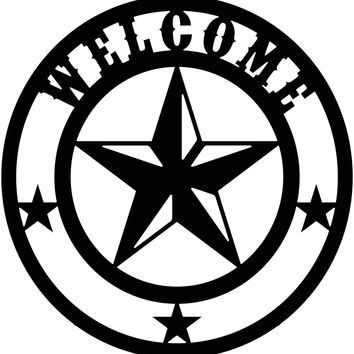 Texas Star Welcome Free DXF file