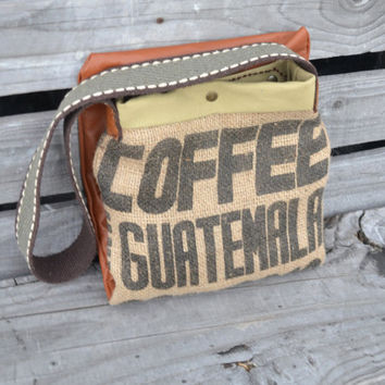 Rustic Leather Tote Bag - Burlap and Leather Tote Bag - Coffee Burlap Tote - Fold Over