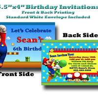 5.5x4 Custom Designed and Printed Birthday Invitations Full color print front and back Mario Brothers Theme