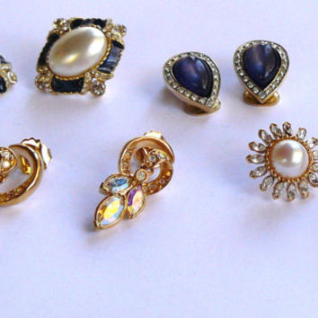 Vintage Earring Lot, Four Pair of Vintage Earrings