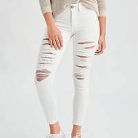 AEO Denim X Hi-Rise Jegging Crop, Destroyed White