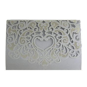 Rectangular Laser-Cut Pearlescent Scroll Swirl Heart Invitations, Silver, 7-1/4-Inch, 8-Count
