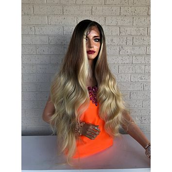 Light Caramel Blonde Balayage Hair Wig with Brown Ombré Roots 419
