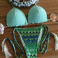 Retro Tassel Knit Bikini Set Beach Swimsuit Summer Gift 204