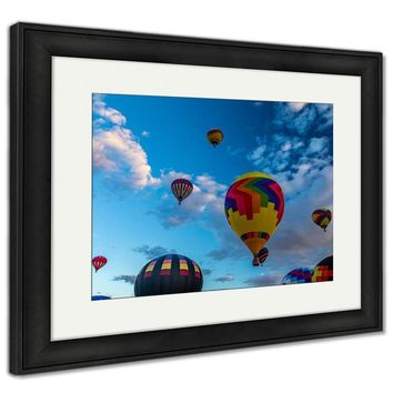 Framed Print, Hot Air Balloons Fly Over The City Of Albuquerque New Mexico During The Mass