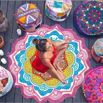 Lotus Large Round Microfiber Circle Beach Blanket Indian Mandala Beach Towel Towels Roundys Tassel Yoga Serviette De Plage