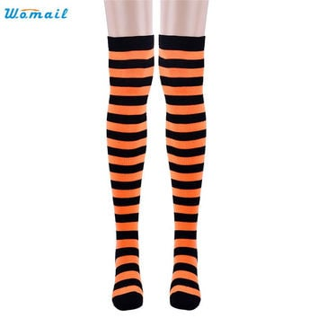 "Modern Womail Striped 67cm 26.38"" Adult Winter women lady Thigh High stockings clothes Over Knee Socks Drop Shipping H23"