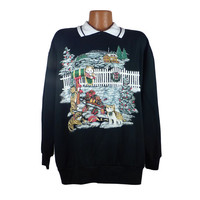 Ugly Christmas Sweater Vintage Sweatshirt Cats Scene Party Xmas Tacky Holiday 1X