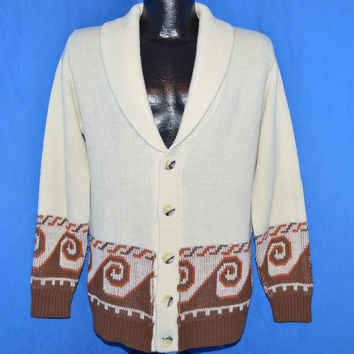 70s Cream Brown Tribal Shawl Collar Cardigan Sweater Medium