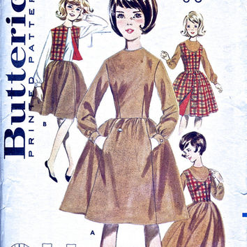1960's Dress, Skirt, Top, Vest - Vintage Sewing Pattern - Butterick 2822 - 28 Inch Breast