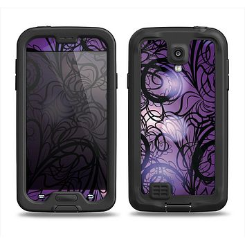The Violet with Black Highlighted Spirals Samsung Galaxy S4 LifeProof Fre Case Skin Set