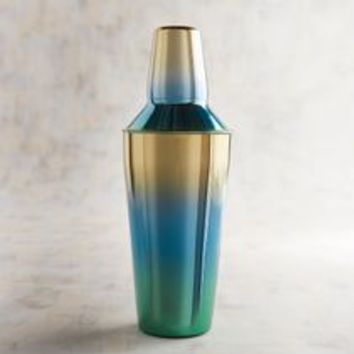 Blue Green & Gold Ombre Cocktail Shaker