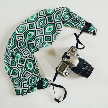 Scarf Camera Strap - Green, White and Black Retro Geometric - dSLR Camera Strap