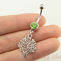 belly ring,wishing tree belly button jewelry,family tree belly button rings,tree navel ring,piercing belly ring,body piercing bellyring