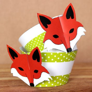 Printable 3D Fox Party Cupcake Wrapper Set - fox face wrappers with lime green polka dot  - DIY printable party supplies –  INSTANT DOWNLOAD