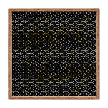 Caleb Troy Black And Yellow Beehive Square Tray