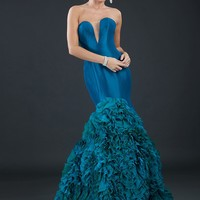 Rachel Allan 8017 Strapless Ruffled Mermaid Evening Gown