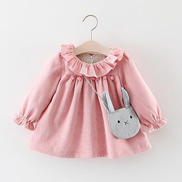 Fashion Autumn Long Sleeve Princess Infants Baby Kids Girls Infantil Tutu Party Ball Ruffles Collar Doll Dress Vestido+Bag S5862