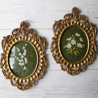 Pair of 2 Vintage Framed Needlepoint Wall Art - White Flowers on Green Fabric - Art Nouveau Style