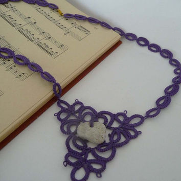 Tatting necklaces purple with the adder stone  -  amulet- talisman for good luck - natural talisman.