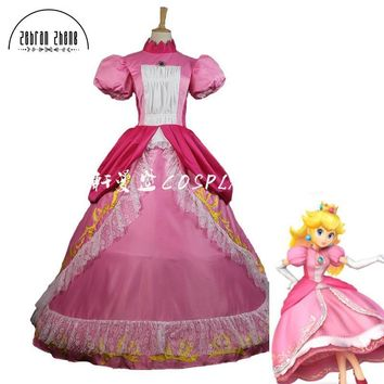 Super Mario party nes switch Top Quality  Princess Peach Sister Dress Cosplay Costume For Adult Women Halloween Costume Dress Custom Made AT_80_8