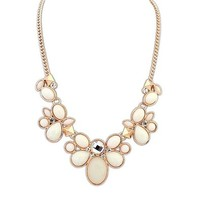 Rhinestone Oval Stones Short Statement Necklace DP 0530
