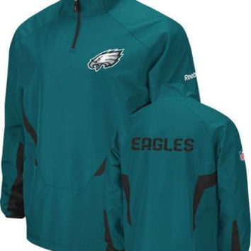 Philadelphia Eagles 1/4 zip jacket Reebok NWT new with tags NFL NFC Philly Iggle
