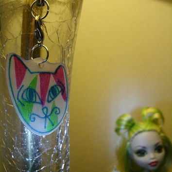 FREAKY tongue tied PSYCHEDELIC cat zipper pull / cell phone charm / ornament