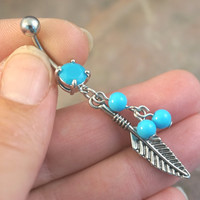 Feather and Turquoise Dangle Belly Button Jewelry Ring