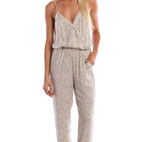 PEBBLED PRINT WRAP FRONT SPAGHETTI JUMPSUIT - OFF WHITE
