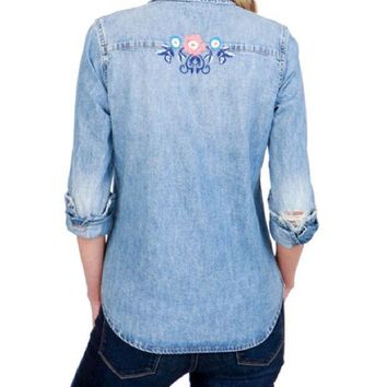 ICIKAB3 Lucky Brand Coupland Embroidered Western Shirt