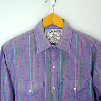 80s mens WESTERN shirt pearl snap urban cowboy purple stripe Ely Jeans