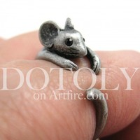 Miniature Mouse Animal Wrap Around Ring in Silver - Sizes 4 to 9 Available