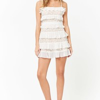 Embroidered Mesh Flounce Dress