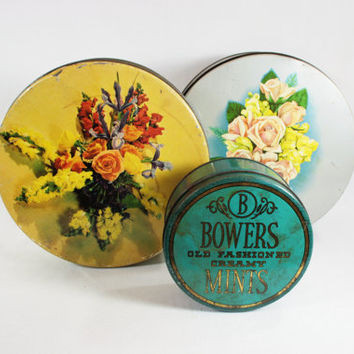 Vintage Primitive Round Tins Instant Collection of 3 Bunte Brothers, Bowers Mints