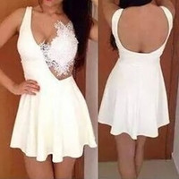 White Cut-Out Lace Spliced Skater Dress