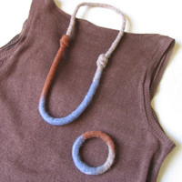 Blue  Cinnamon Felt Necklace and Bracelet, Handmade Felt Wool Jewelry, Gift for Her under 50 Metal Free