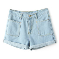 ROMWE Ribbed Pocketed Light-blue Shorts