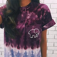 Ivory Ella Summer Stylish Tie Dye Gradient Elephant Print Short Sleeve Round Collar T-Shirt I