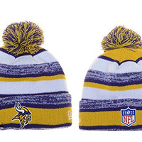 Unisex Winter Warm Wool Sports Cap Cuff Knit Hat Pom Beanie (Minnesota Vikings)