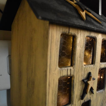 Primitive, Saltbox Paper Towel Country House and Dispenser, With Lights