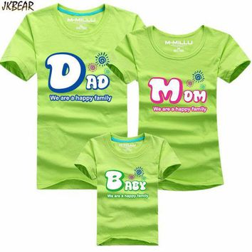 MDIGGB2 Mother's Day Gift Lovely Family Matching Short Sleeve T Shirts Cute Dad Mom Baby Print Casual Cotton Tee Plus Size S-4XL