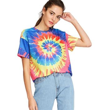 Spiral Blue Red Yellow Tie Dye T-Shirt