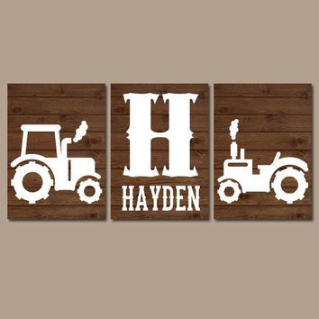 Tractor Wall Art Canvas or Prints Rustic Country Nursery Pictures, Big Boy Bedroom, Baby Boy Name, Tractor Decor, Brown Faux Wood Set of 3