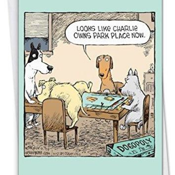 Dogopoly: Funny Birthday Card Featuring Cartoon Canines Marking Territory in a Board Game  - Free Shipping